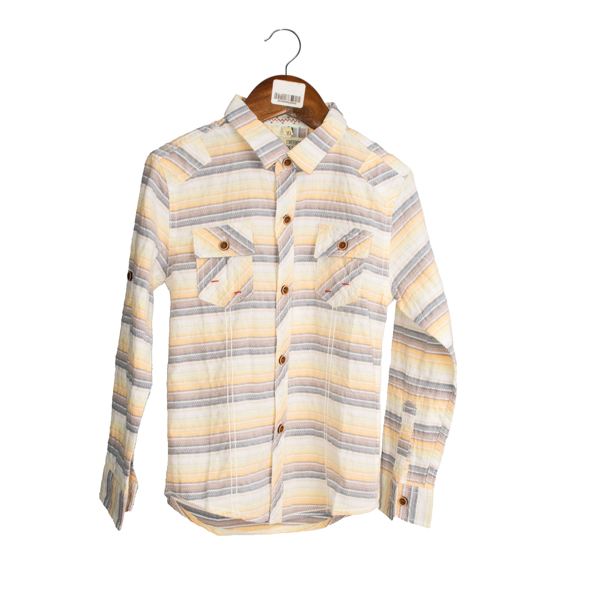 BOY'S L/S SHIRT-YELLOW / CHECK-3301 - Export Mall