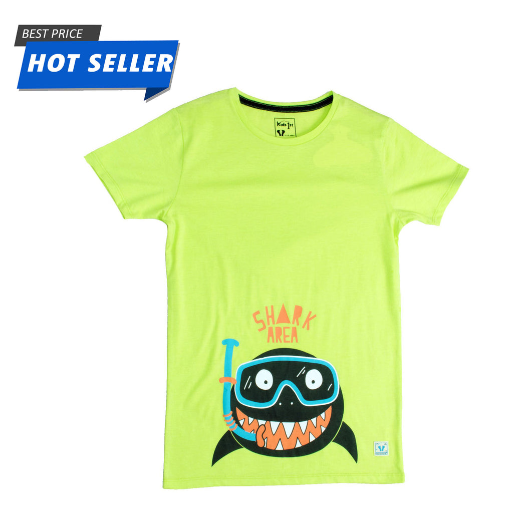 BOYS S/S GRAPHIC TEE-LEMON GREEN-1109 - Export Mall Online Store Sale