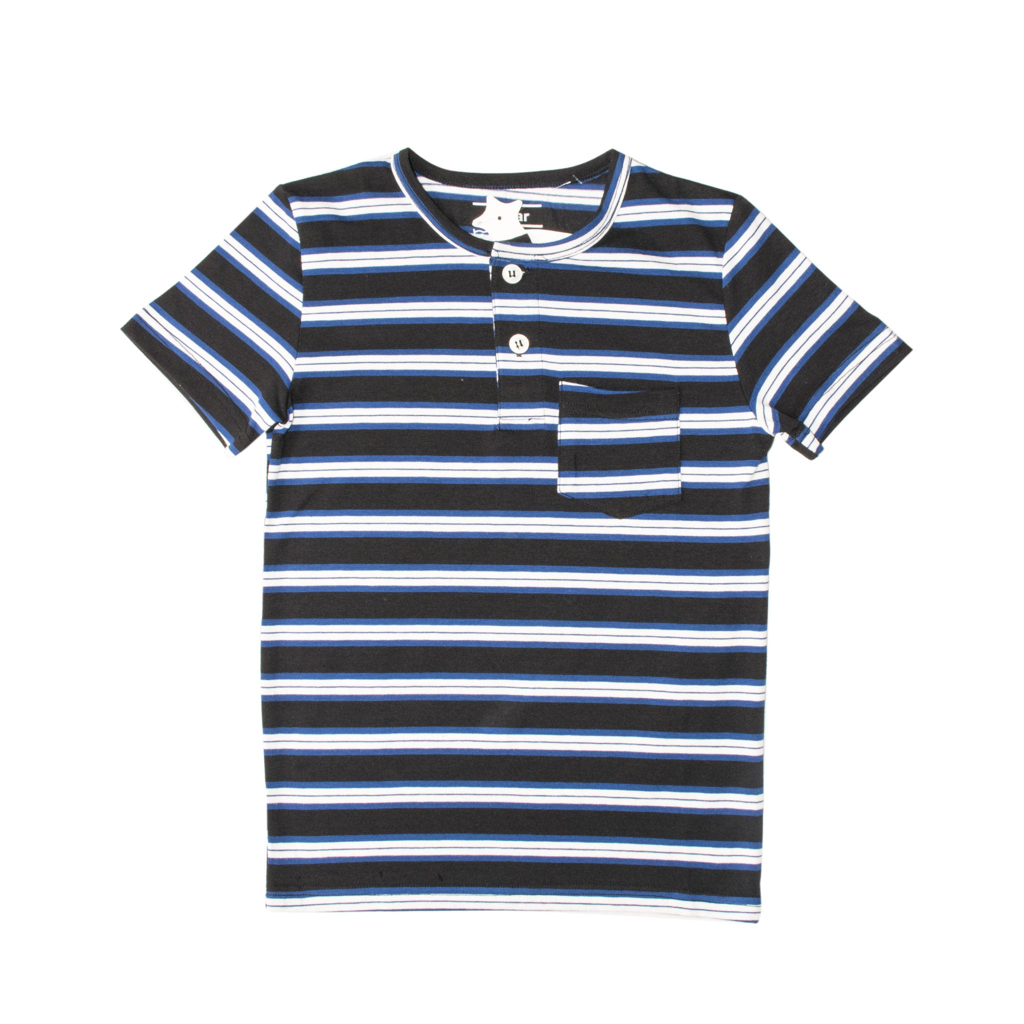 BOY'S S/S HENLEY-BLACK/BLUE/WHITE-SSSS20KB-1108