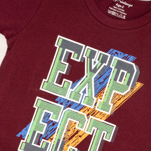 BOYS' S/S GRAPHIC TEE - MAROON - Export Mall