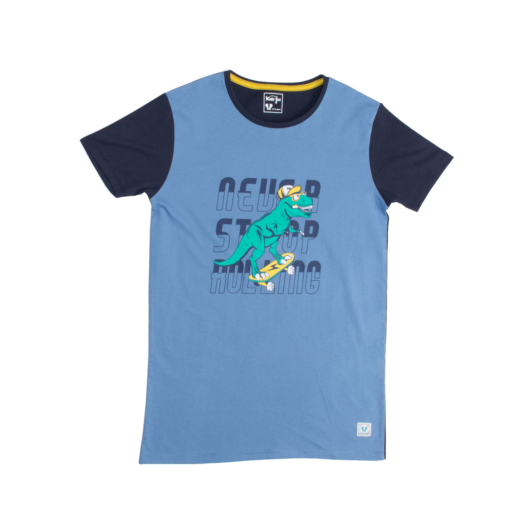 BOYS S/S GRAPHIC TEE-SMOKE GREY/NAVY-1108 - Export Mall