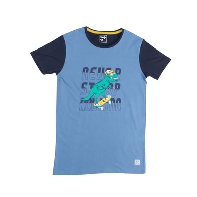 BOYS S/S GRAPHIC TEE-SMOKE GREY/NAVY - Export Mall Online Store Sale