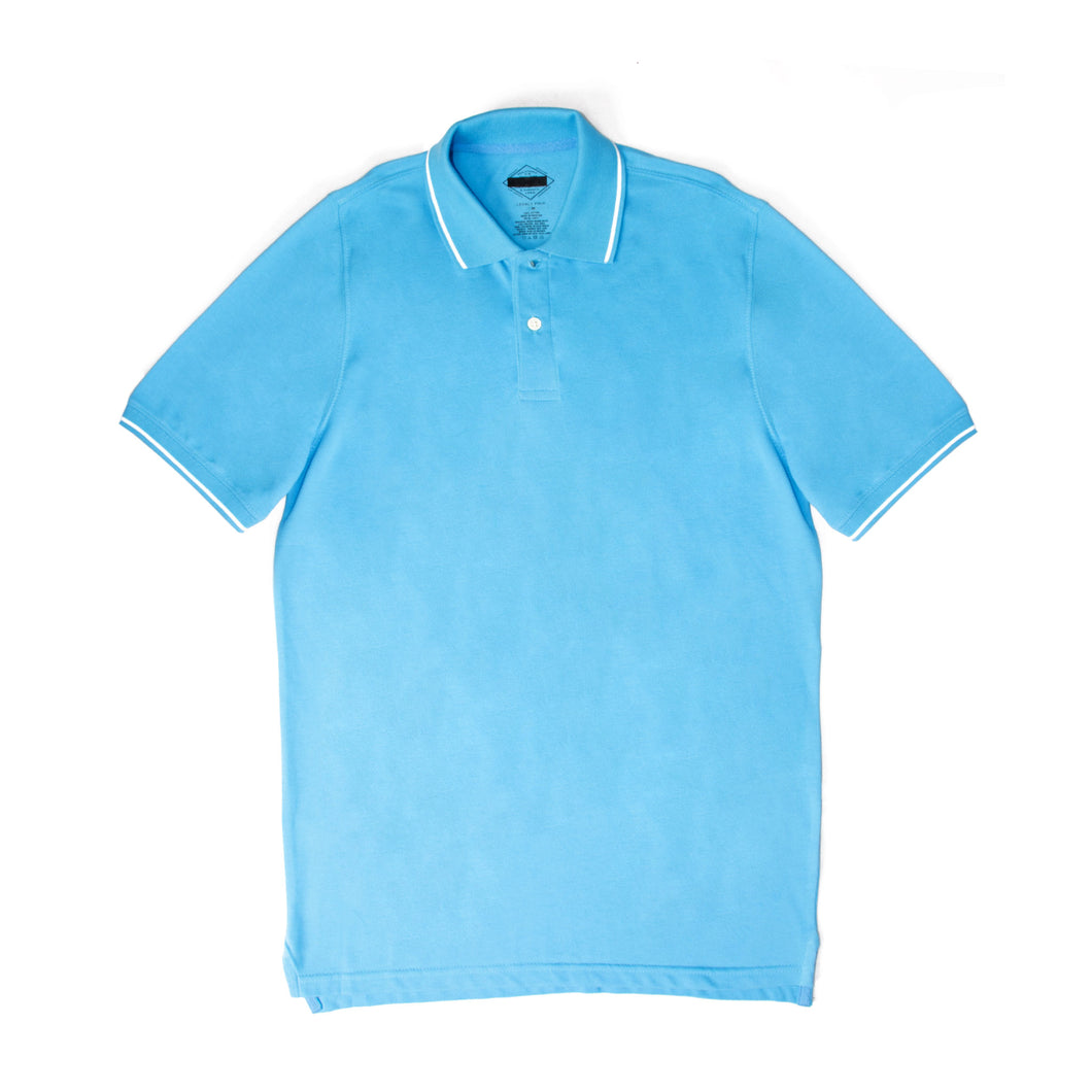MEN'S S/S TIPPING POLO BLUE-3712 - Export Mall Online Store Sale