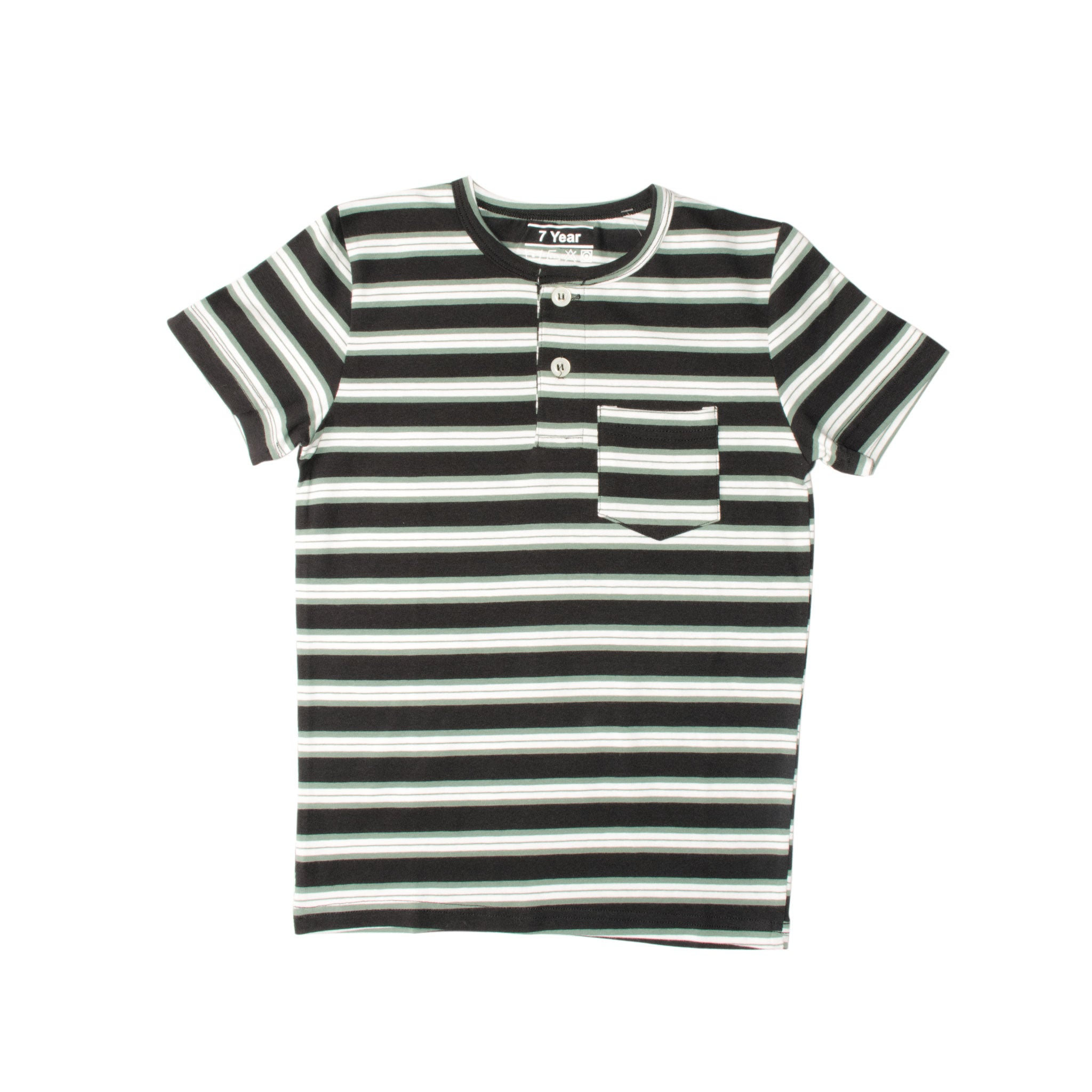 BOY'S S/S HENLEY-BLACK/GREEN/WHITE-SSSS20KB-1108 - Export Mall