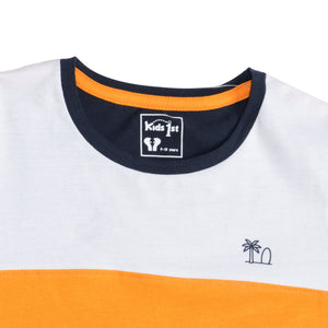 BOY'S S/S GRAPHIC TEE-WHITE/ORANGE/NAVY-1102 - Export Mall Online Store Sale