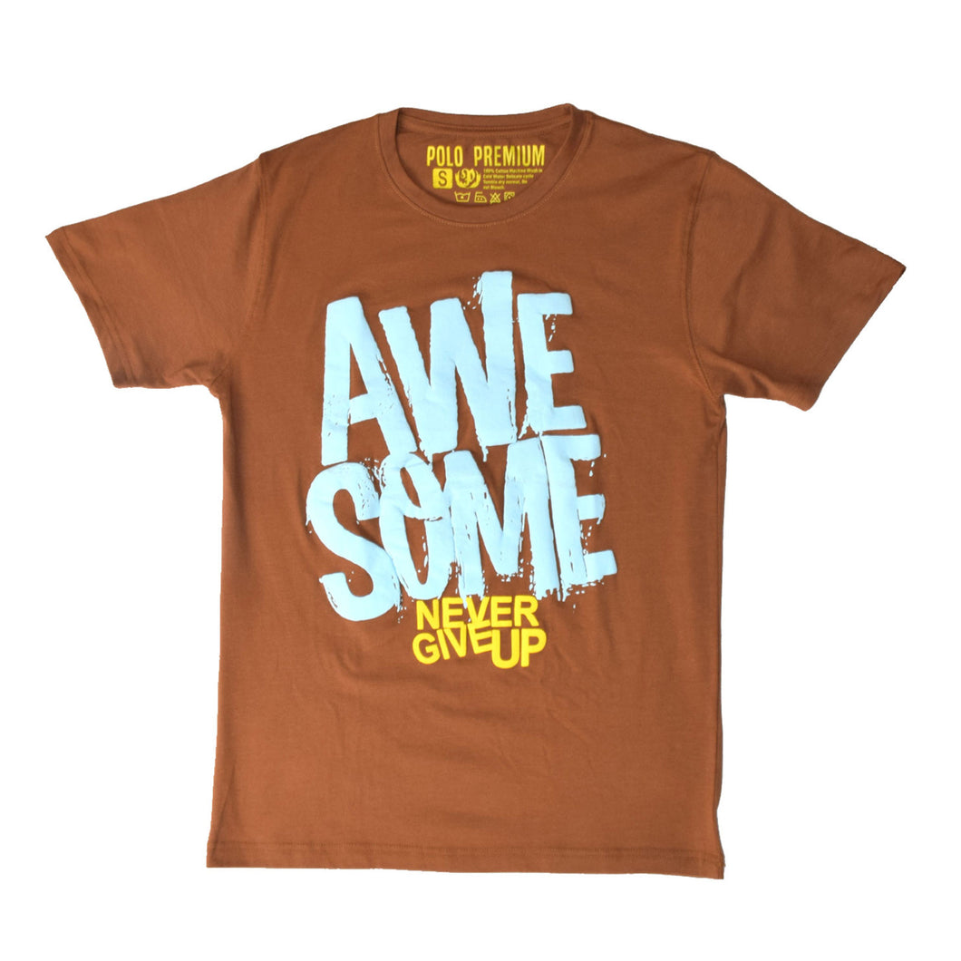 MEN'S S/S PRINTED TEE - BROWN / AWESOME - Export Mall Online Store Sale