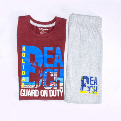 BOYS' MUSCLE TEE & SHORT SET - MAROON / GREY - Export Mall