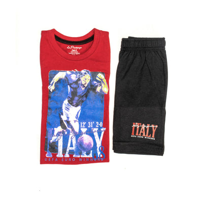 BOYS' MUSCLE TEE & SHORT SET - RED/BLACK - Export Mall