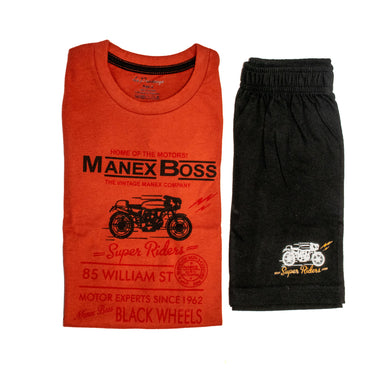 BOYS' GRAPHIC TEE & SHORT SET - ORANGE / BLACK - Export Mall Online Store Sale