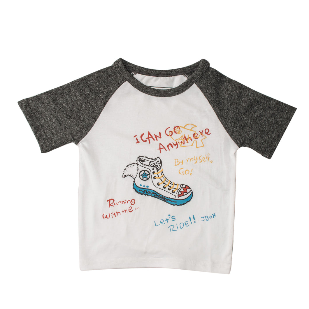BOYS S/S RAGLAN-WHITE/CHARCOAL-SSSS20KB-1109 - Export Mall Online Store Sale