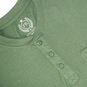 MEN'S S/S HENLEY - GREEN - Export Mall Online Store Sale