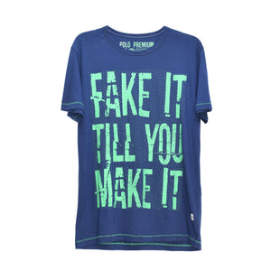 MEN'S S/S PRINTED TEE - FAKE IT TILL YOU MAKE IT - Export Mall Online Store Sale