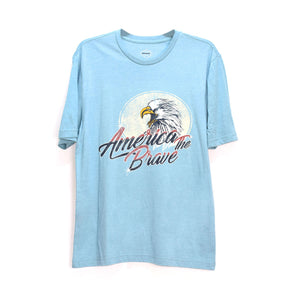 MEN'S S/S PRINTED TEE - AQUA / AMERICA THE BRAVE - Export Mall Online Store Sale
