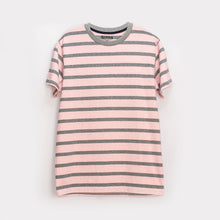 Load image into Gallery viewer, MEN'S S/S TEE - PINK / GREY STRIPES - Export Mall Online Store Sale