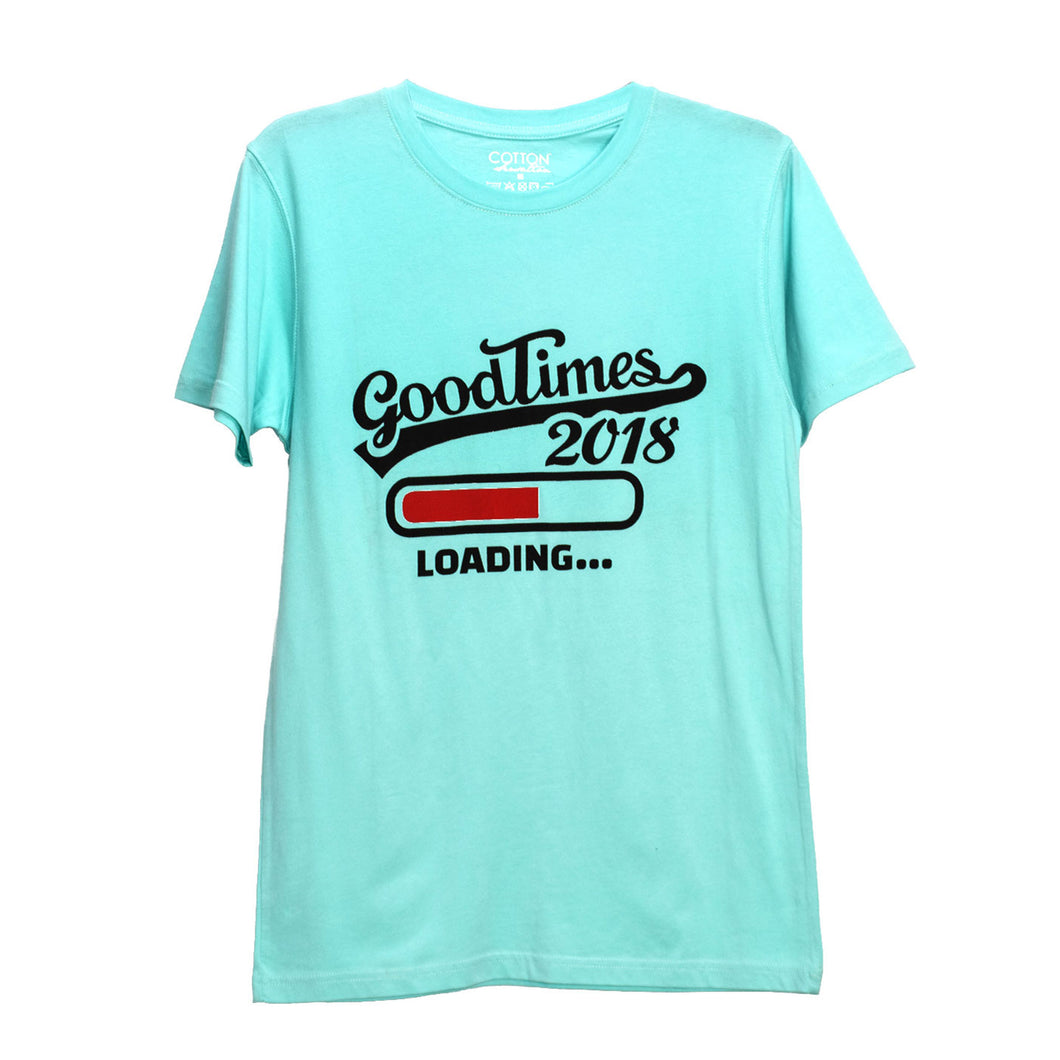 MEN'S S/S PRINTED TEE - AQUA BLUE / GOOD TIMES LOADING - Export Mall Online Store Sale