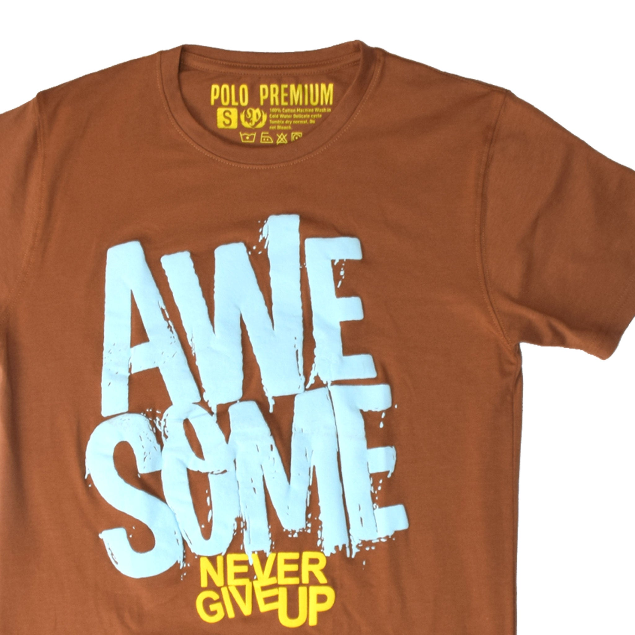 MEN'S S/S PRINTED TEE - BROWN / AWESOME