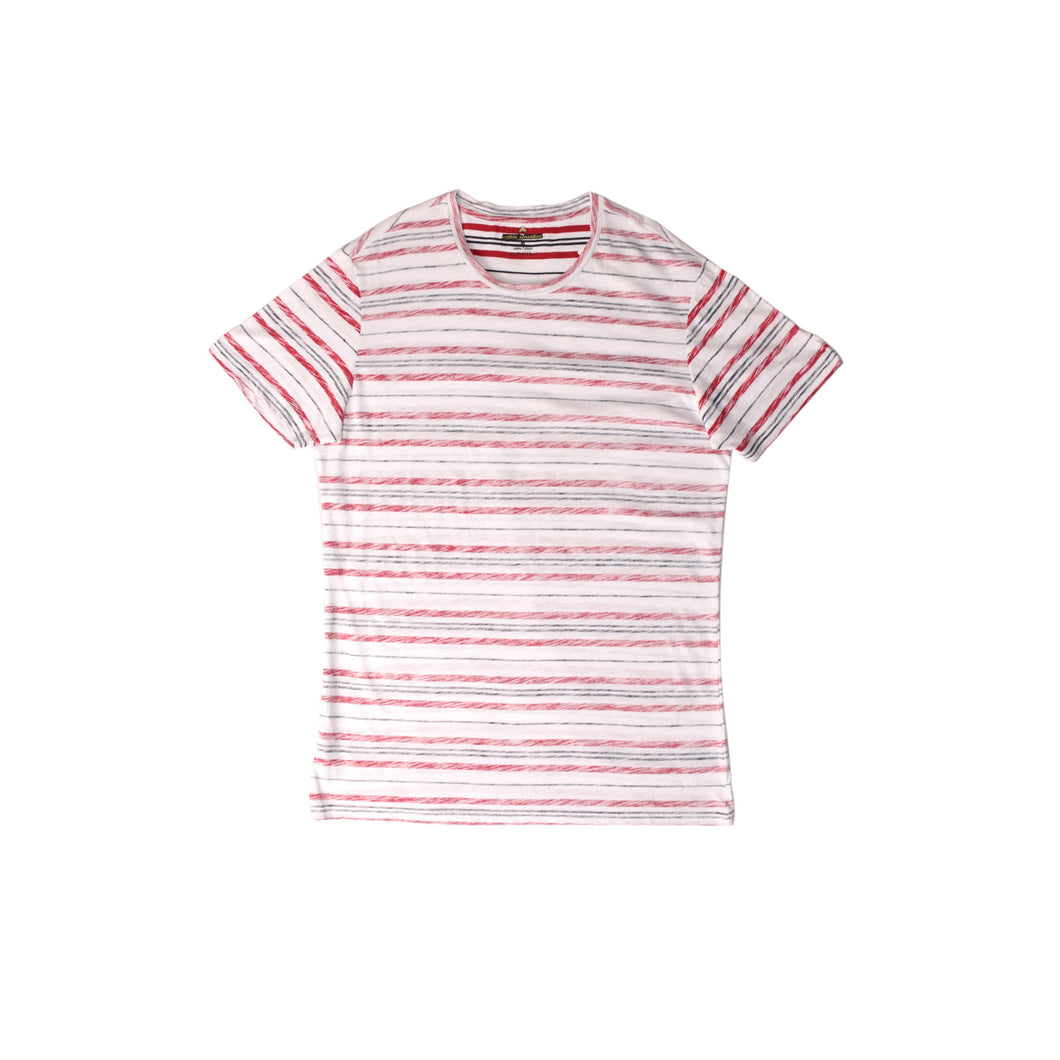 MEN'S S/S TEE - WHITE / RED STRIPES - Export Mall Online Store Sale