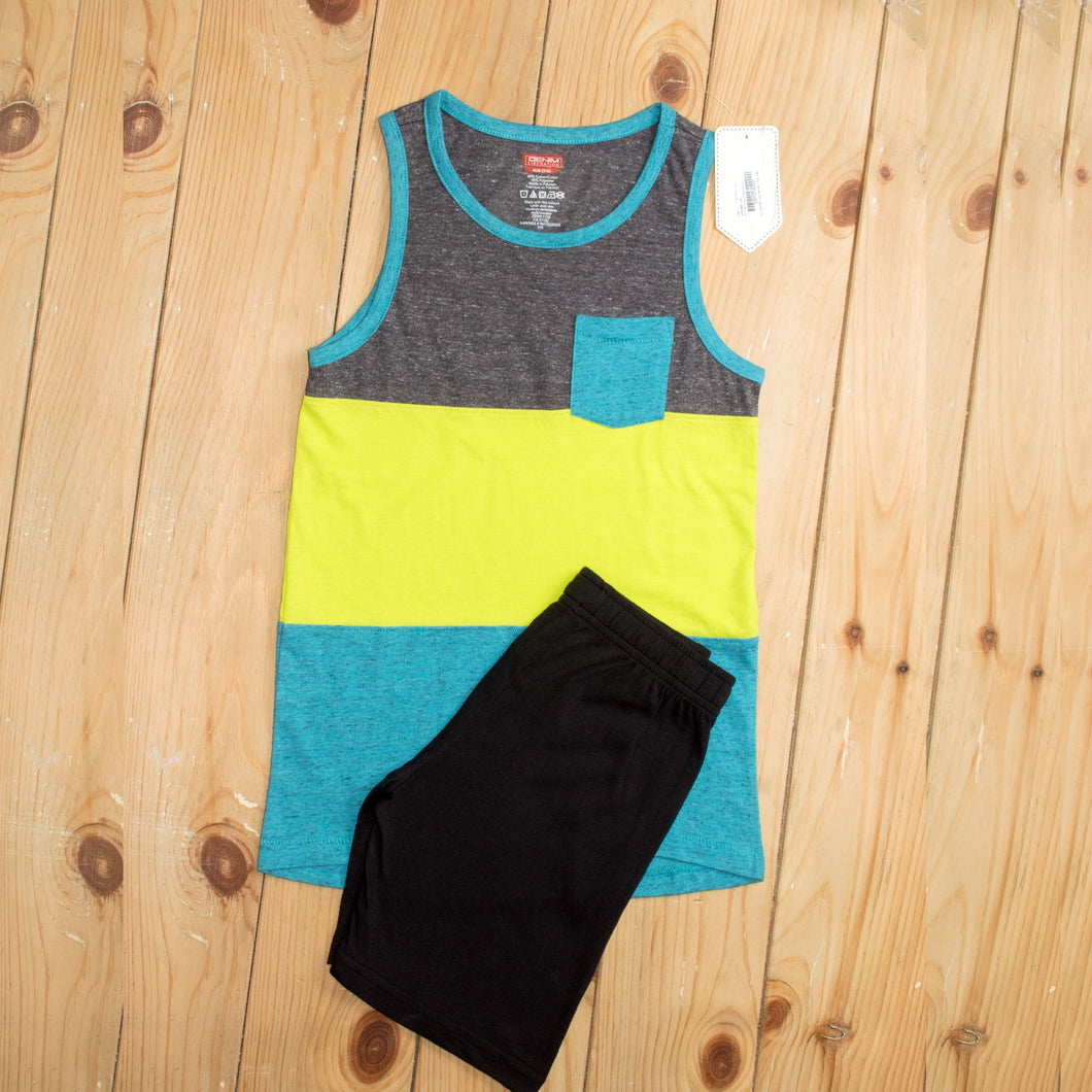 BOY'S MUSCLE TEE & SHORT-LIME STRIPE / BLACK-1189 - Export Mall Online Store Sale