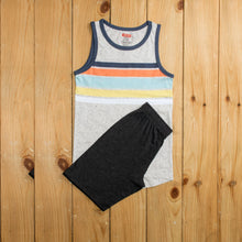 Load image into Gallery viewer, BOY'S MUSCLE TEE & SHORT-SKY BLUE STRIPE / BLACK-1195 - Export Mall Online Store Sale