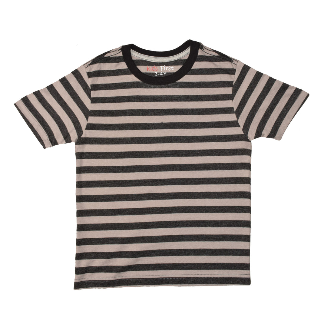 BOY'S S/S TEE-25BS-STK-ASRT01-Gray/Black Stripe - Export Mall Online Store Sale
