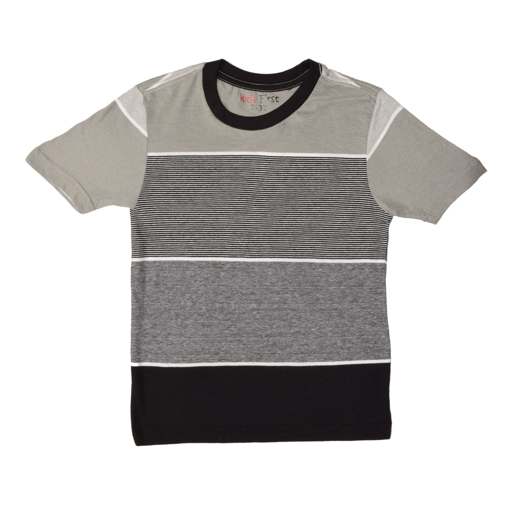 BOY'S S/S TEE-25BS-STK-ASRT01- Gray/Black Stripe - Export Mall Online Store Sale