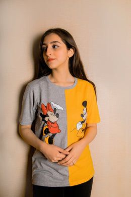 WOMEN'S S/S GRAPHIC TEE-GREY/MUSTARD-EMSS21KW-2017 - Export Mall Online Store Sale