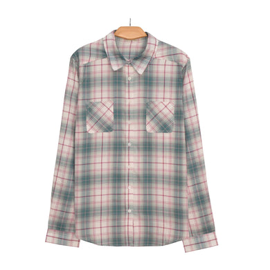 MEN'S L/S WOVEN SHIRT-GREEN WHITE CHECK-25 - Export Mall Online Store Sale