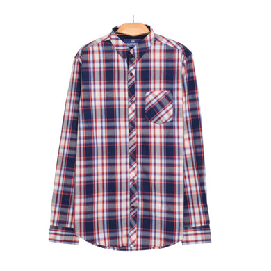 MEN'S L/S WOVEN SHIRT NAVY CHECK-25 - Export Mall Online Store Sale
