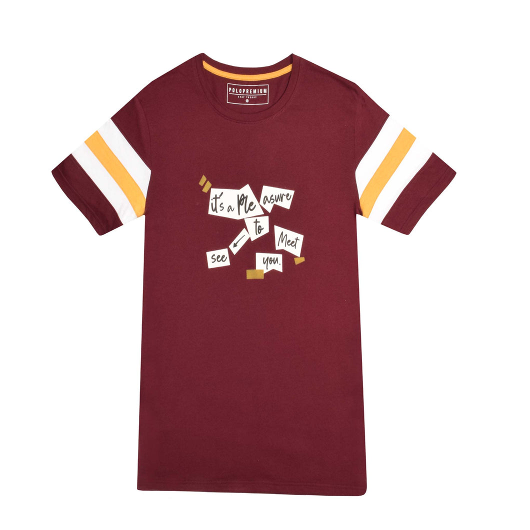 MENS S/S GRAPHIC TEE-MAROON-EMSS21KM-1002 - Export Mall Online Store Sale