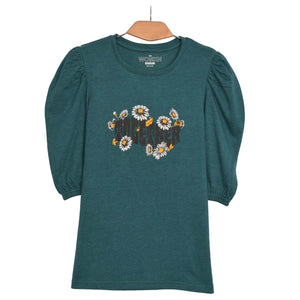 WOMEN'S L/S GRAPHIC TEE-TEAL TAUNT-EMFW20KW-2035 - Export Mall Online Store Sale