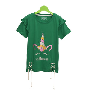 GIRL'S S/S GRAPHIC TEE-FOREVER GREEN-EMSS21KG-2234 - Export Mall Online Store Sale