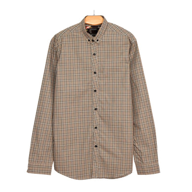 MEN'S L/S WOVEN SHIRT-GREY BLACK CHECK-25 - Export Mall Online Store Sale