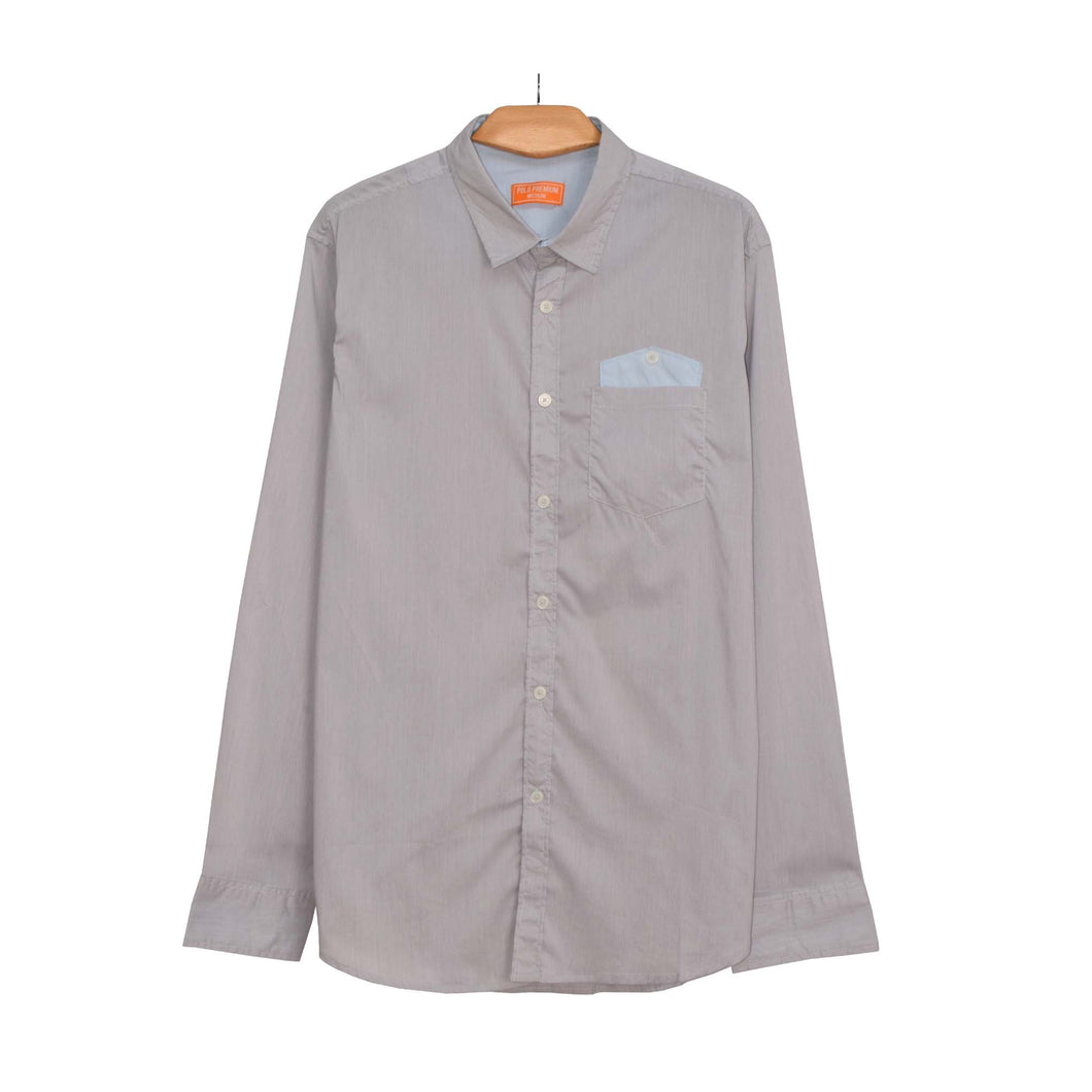 MEN'S L/S WOVEN SHIRT-GREY LINE SKY PKT-25 - Export Mall Online Store Sale