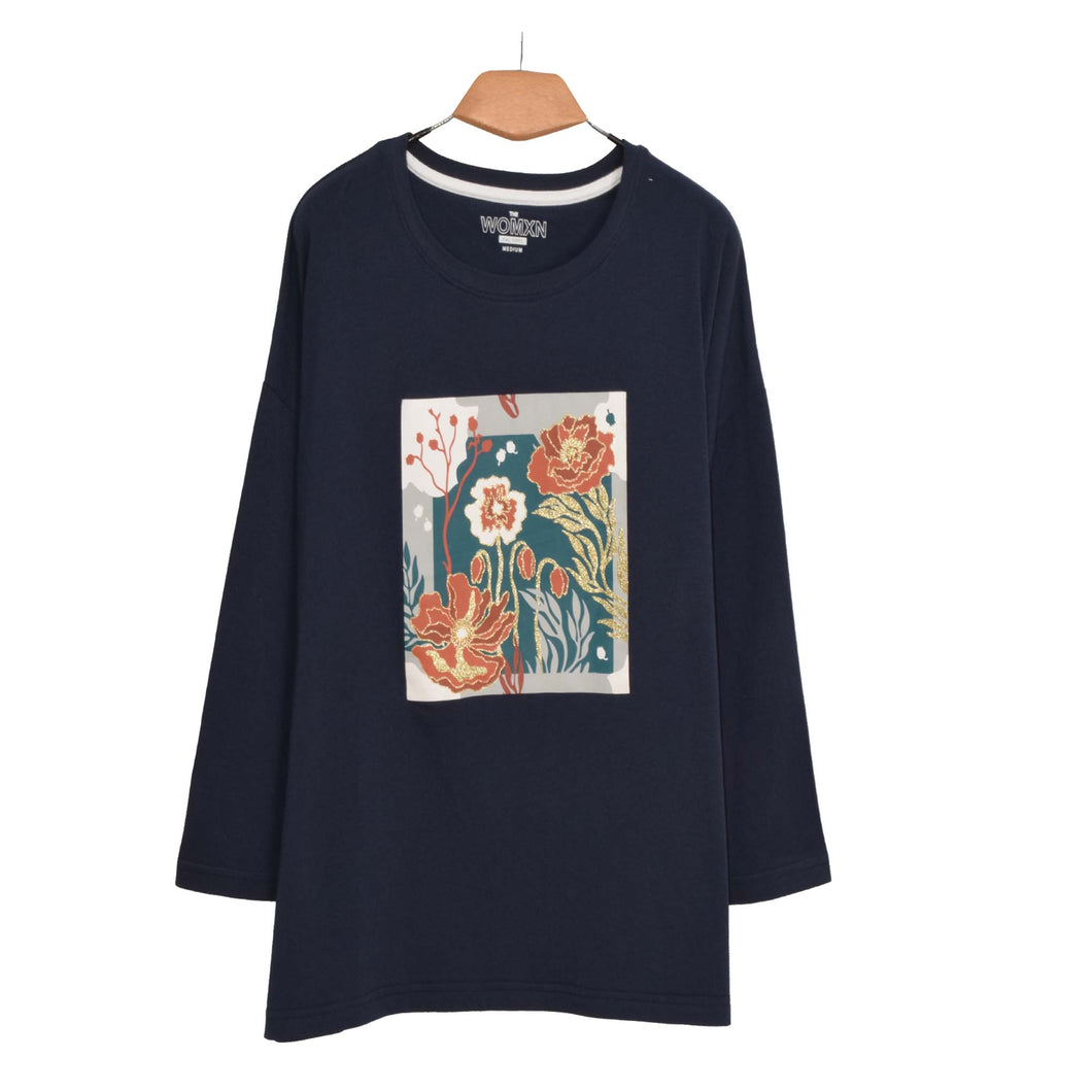 WOMEN'S L/S GRAPHIC TEE-MOON INDIGO-EMFW20KW-2004 - Export Mall Online Store Sale
