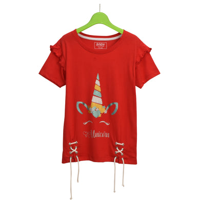 GIRL'S S/S GRAPHIC TEE-RED-EMSS21KG-2234 - Export Mall Online Store Sale