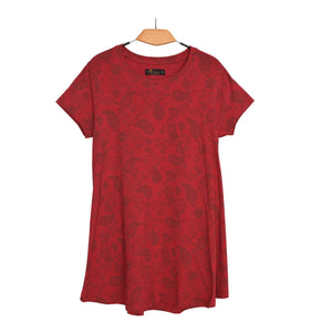 WOMEN'S KNIT SHIRT RED FLOWER-3584 - Export Mall Online Store Sale