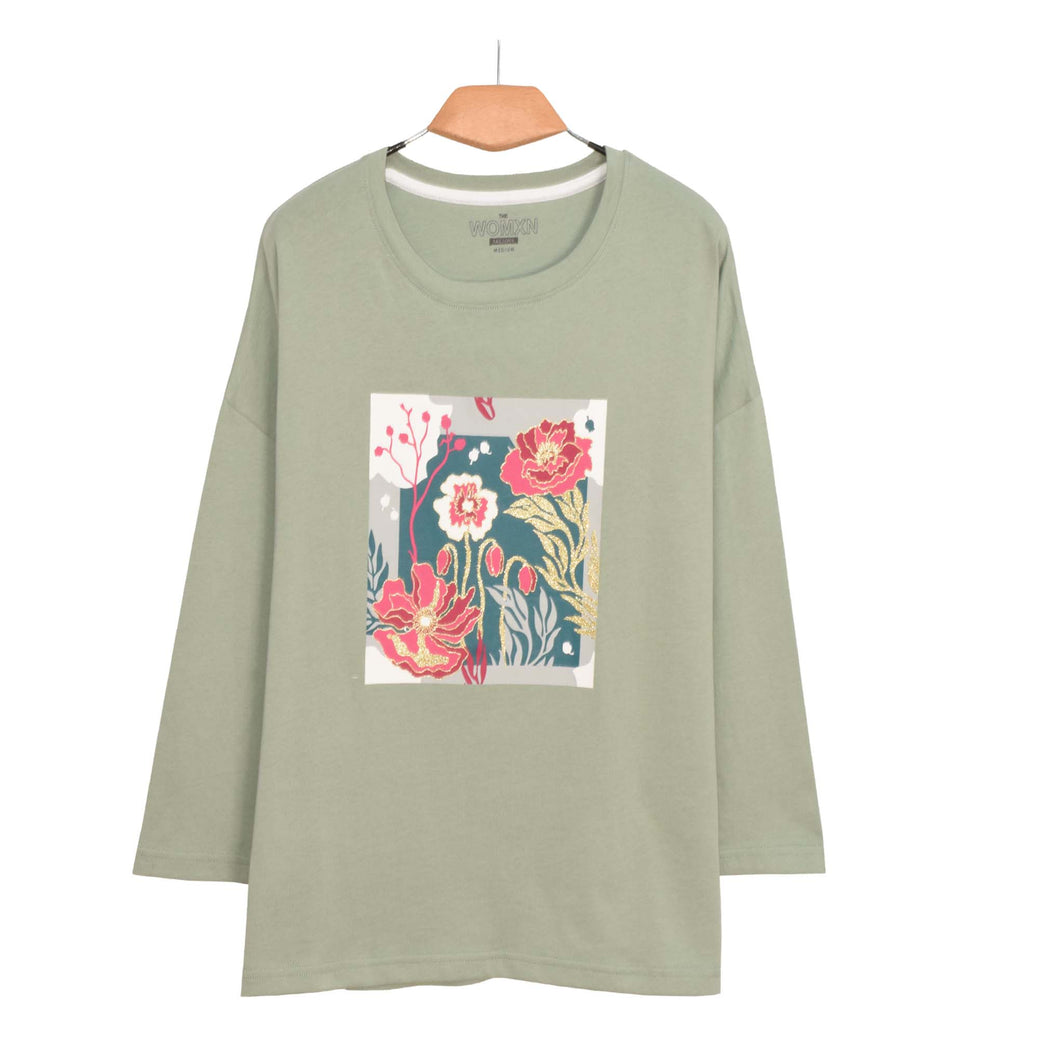 WOMEN'S L/S GRAPHIC TEE-CHINOS GREEN-EMFW20KW-2004 - Export Mall Online Store Sale