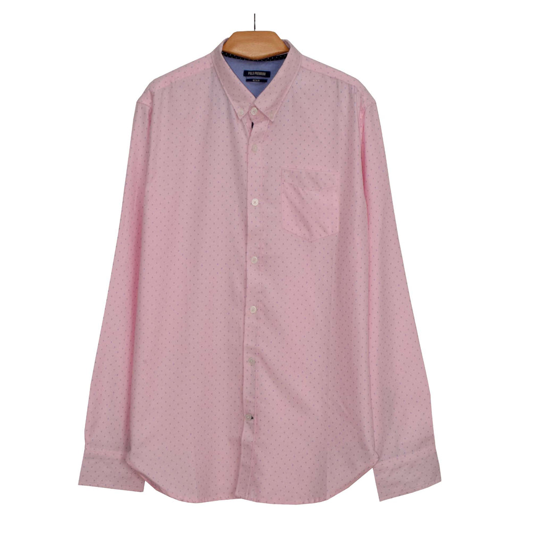 MEN'S L/S WOVEN SHIRT-PINK NAVY STAR-25 - Export Mall Online Store Sale