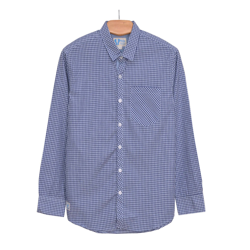 BOY'S WOVEN SHIRT - BLUE NAVY CHECK - 25 - Export Mall Online Store Sale