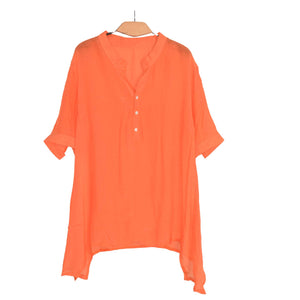 WOMEN'S WOVEN SHIRT/TOP ORANGE-16 - Export Mall Online Store Sale