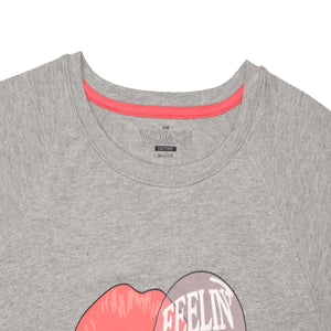 WOMEN'S L/S GRAPHIC TEE-LIGHT GREY-EMFW20KW-2007 - Export Mall Online Store Sale