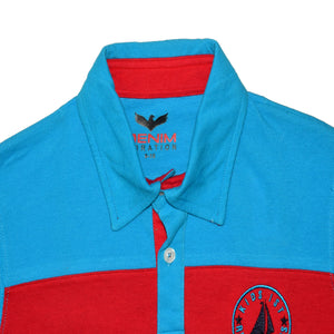 BOY'S S/S FASHION POLO-BLUE/RED-EMK0019 - Export Mall Online Store Sale