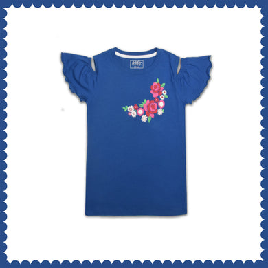GIRL'S S/S GRAPHIC TEE-TRUE BLUE-EMSS21KG-2229 - Export Mall Online Store Sale
