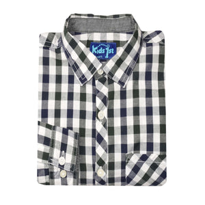 BOY'S WOVEN SHIRT - BLACK NAVY CHECK - 25 - Export Mall Online Store Sale
