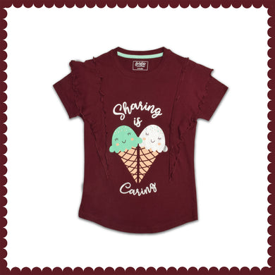 GIRL'S S/S GRAPHIC TEE-BORDEAUX-EMSS21KG-2235 - Export Mall Online Store Sale