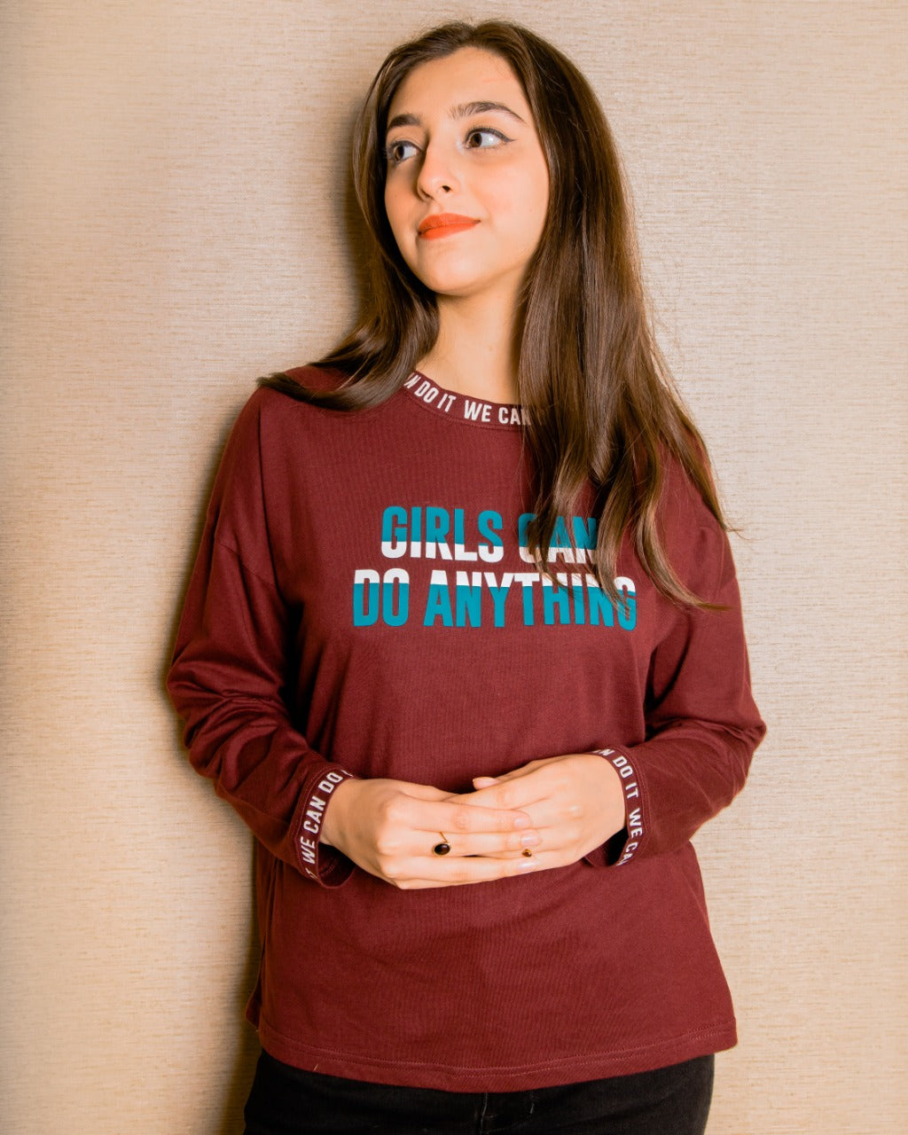 WOMEN'S L/S GRAPHIC TEE-BOURDEX-EMSS21KW-2018 - Export Mall Online Store Sale