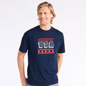 MEN'S S/S GRAPHIC TEE-BLUE USA-1020 - Export Mall Online Store Sale