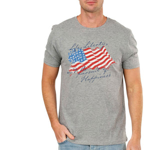 MEN'S S/S GRAPHIC TEE-GREY LIBERTY-1027 - Export Mall Online Store Sale