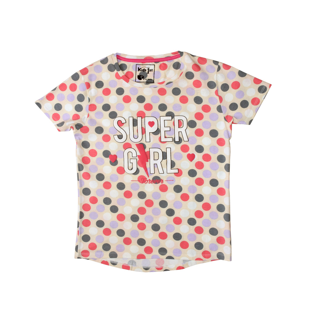 GIRLS S/S GRAPHIC TEE-DOT PRINT-2252 - Export Mall Online Store Sale
