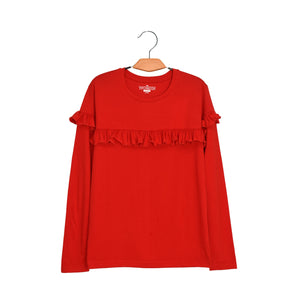 WOMEN'S L/S TEE-RED-EMFW4KW-2005 - Export Mall Online Store Sale